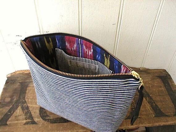 Indigo stripe & ikat clutch, utility pouch large - eco vintage fabric