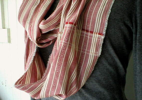 SALE Dark red chambray stripe infinity scarf, loop - extra long - eco vintage fabric