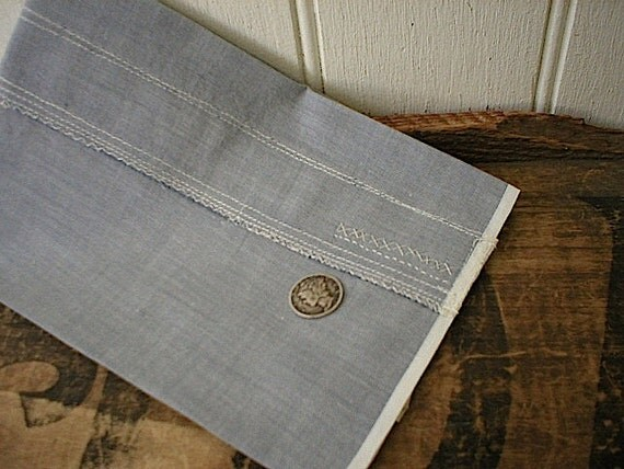 Selvege grey chambray pocket square with hand stitching - eco vintage fabric