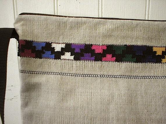 Hemp linen woven geometric messenger, day bag - eco vintage fabrics