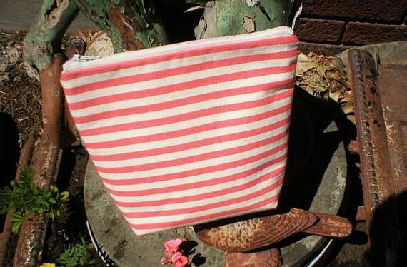 1/2 off SALE Coral stripe utility pouch - eco vintage fabrics