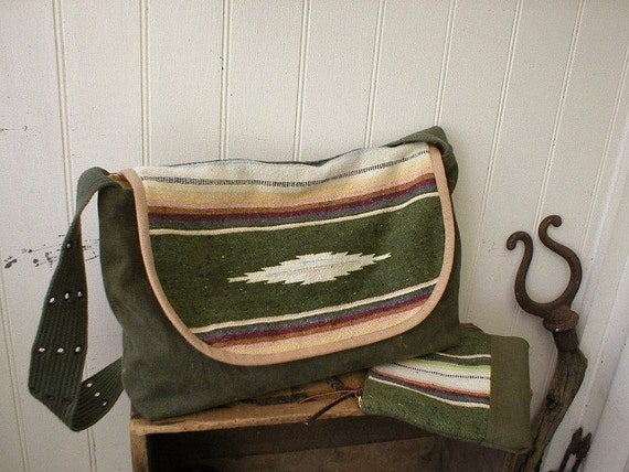 SALE Mexican blanket & canvas messenger, laptop bag - olive handwoven Mexican - eco vintage fabrics