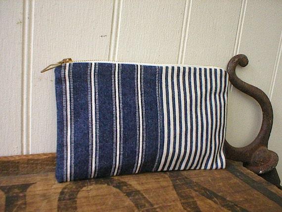 Indigo stripe denim utilty pouch, pencil case - patchwork - eco vintage fabrics