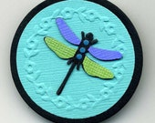 Wearable Paper Art Pin - Dragonfly