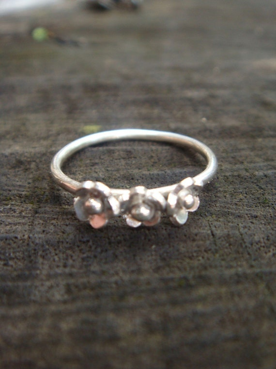 Tiny Flower Blossoms- Made to order ring