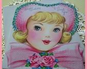 Vintage Greeting Card- Sweet Girl