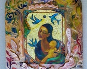 Guadalupe with Child Retablo Mosaic Latino Art