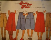 Sew For Fun Vintage Girls 70s a line skirt  pants Pattern size 10