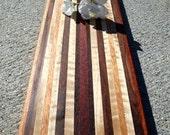 Handmade Wood Cheese Board - Flame Maple & Honduran Mahogany