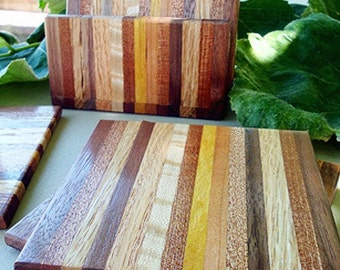 TG Exotic Wood Coaster with Caddy Set - Yellowheart, Black Walnut, Sapele, Oak, Cherry, Flame Maple, and Freijo