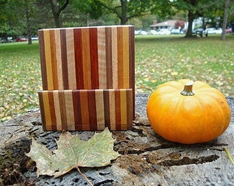 TG Exotic Wood Coaster with Caddy Set - Black Walnut, Yellowheart, Oak, Flame Maple, Padauk, and Mahogany