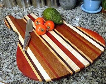 TG Thrillist Jazzy Bass Guitar Cutting Board - Goncalo Alves, Brazilian Cherry, Mahogany, Walnut, and Curly Maple