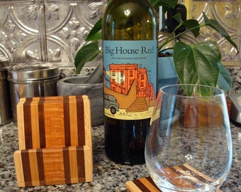 TG Exotic Wood Coaster with Caddy Set - Lacewood, Black Walnut, Oak, Mahogany, and Curly Maple