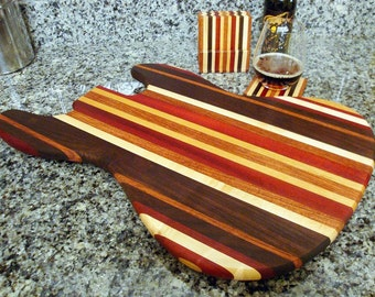 Personalized Laser Engraved Wood Jazzy Bass Guitar Cutting Board and Coaster Set - Bloodwood & Black Walnut - Custom Engraved Wood Gift