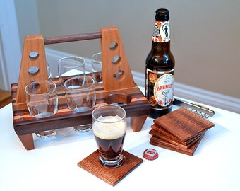 Personalized Beer Sampler Flight Tasting Paddle and Coaster Set  - Mahogany & Bloodwood