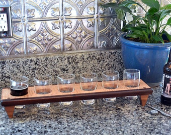 Personalized Engraved Beer Caddy Sampler Flight Tasting Paddle Carrier Custom Gift - With Glasses - 3,4,5, or 6