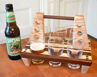 Custom Engraved Beer Flight, Beer Sampler, Engraved Beer Caddy, Personalized Gift, Beer Lover - Groomsman - Bridesmaid - Mancave
