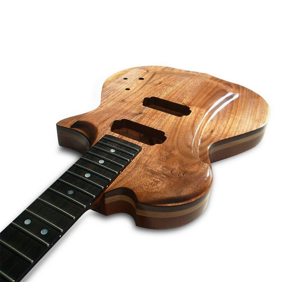 Items similar to handmade electric wood guitar black