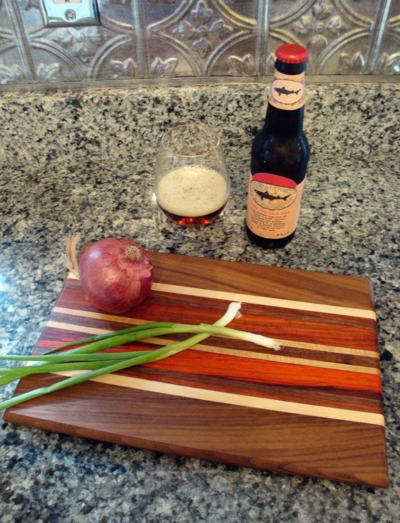Personalized Laser Engraved Large Wood Cutting Chopping Butcher Board Block - Black Walnut & Padauk
