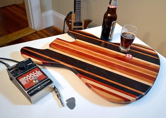 Handmade Wood Jazzy Bass Shaped Guitar Cutting Board - Bloodwood & Peruvian Black Walnut