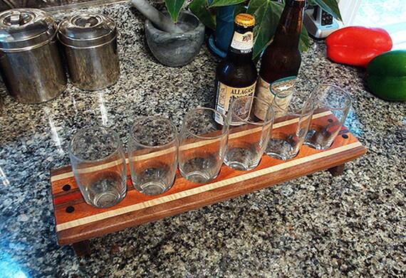 Wooden Craft Beer Flight - Gifts for Men - Groomsmen - Nerd - Man Cave - FREE ENGRAVING