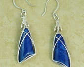 Sterling silver wire wrapped lapis earrings