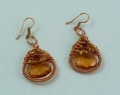 Copper wire wrapped earrings with garnet and citrine
