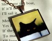 Black Cat Jewelry - art pendant necklace - The Stalker