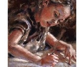 Original Pastel Painting - portrait girl - the Little Artist -  Alisa Wilcher