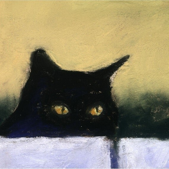 The Stalker 10x8 black cat closeup  AlisaPaints