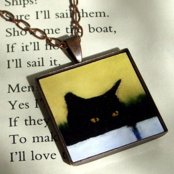 Black Cat Jewelry - art pendant necklace - The Stalker