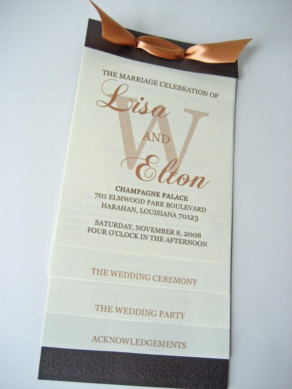 Layered Wedding Program 4.25x9
