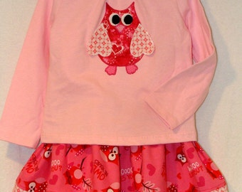 Valentine Skirt and Top Set - Toddler Valentine Skirt - Owl Applique Shirt - Skirt Set - Size 3 Toddler - by Country Cuttin's