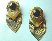 Steampunk style vintage 1990s mesh earrings