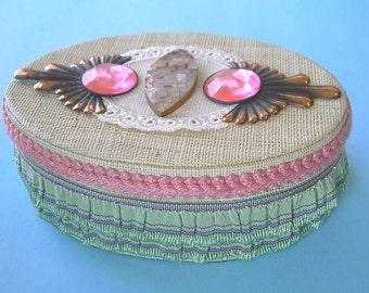 Handmade altered art assemblage trinket, treasure or jewelry box