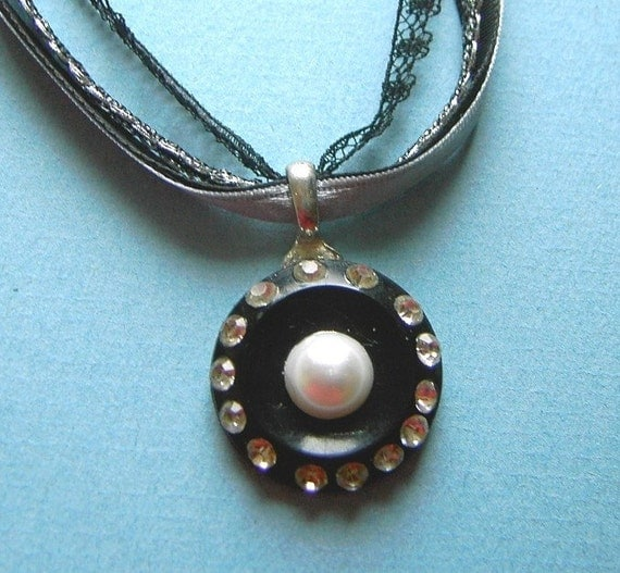 OOAK vintage rhinestone button and vintage ribbon necklace