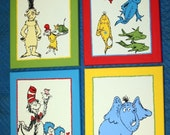 DR. SEUSS inspired CHARACTERS Set of 4 Custom Hand Painted Wall Art Paintings