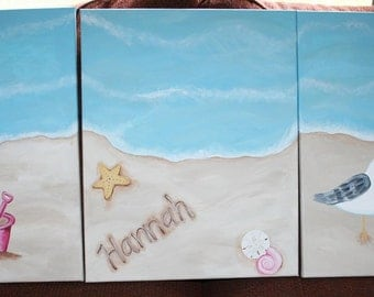 Personalized Beach Scene SET of 3 Canvas Triptych Paintings