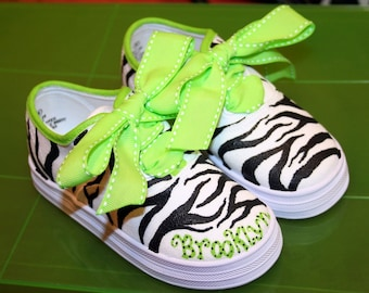 Girl's Custom Painted Tennis Shoes Sneakers LIME GREEN ZEBRA Any Size