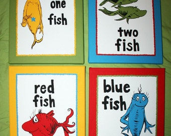 One Fish, Two Fish Inspired SET OF 4 Dr. Seuss Custom Paintings
