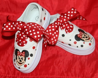 Girl's Custom Painted Tennis Shoes MINNIE MOUSE INSPIRED Classic Red and Black Any Size