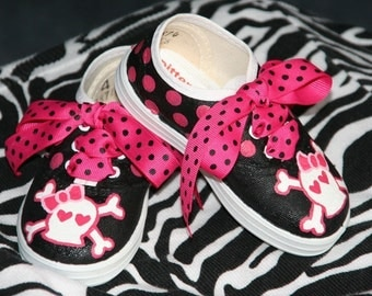 Girl's Custom Painted Tennis Shoes Sneakers GIRLY PIRATE Any Size
