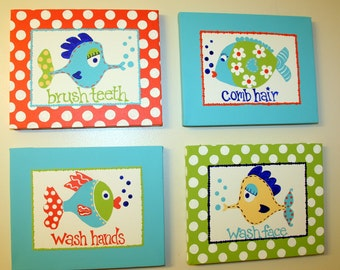 Children's FUNNY FISH Inspired Set of 4 Bathroom Paintings Wall Art