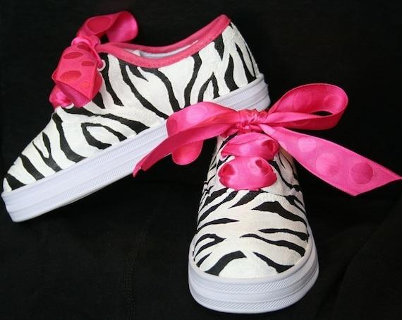 s custom painted tennis shoes sneakers pink zebra