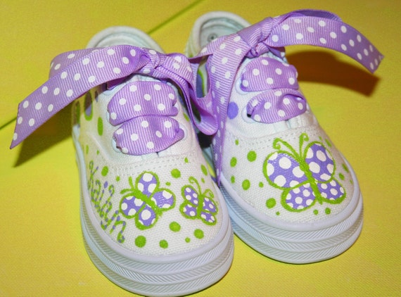 Girl's Custom Painted Tennis Shoes LAVENDER and GREEN BUTTERFLIES Any Size