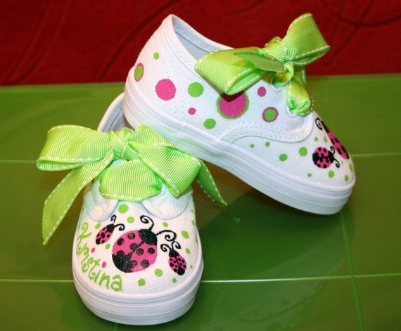 Girl's Custom Painted Tennis Shoes Hot Pink and Lime Ladybugs Any Size