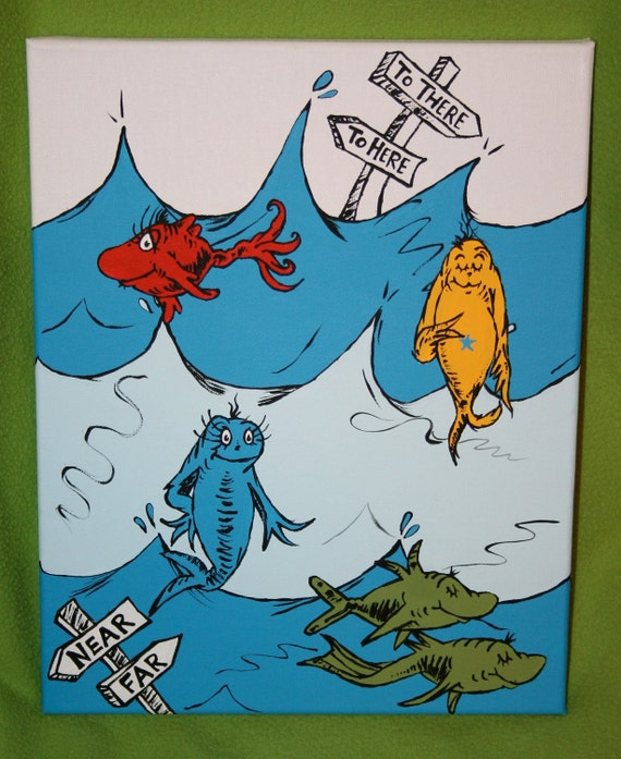 One Fish, Two Fish Underwater Scene 11x14 Painting Inspired by Seuss