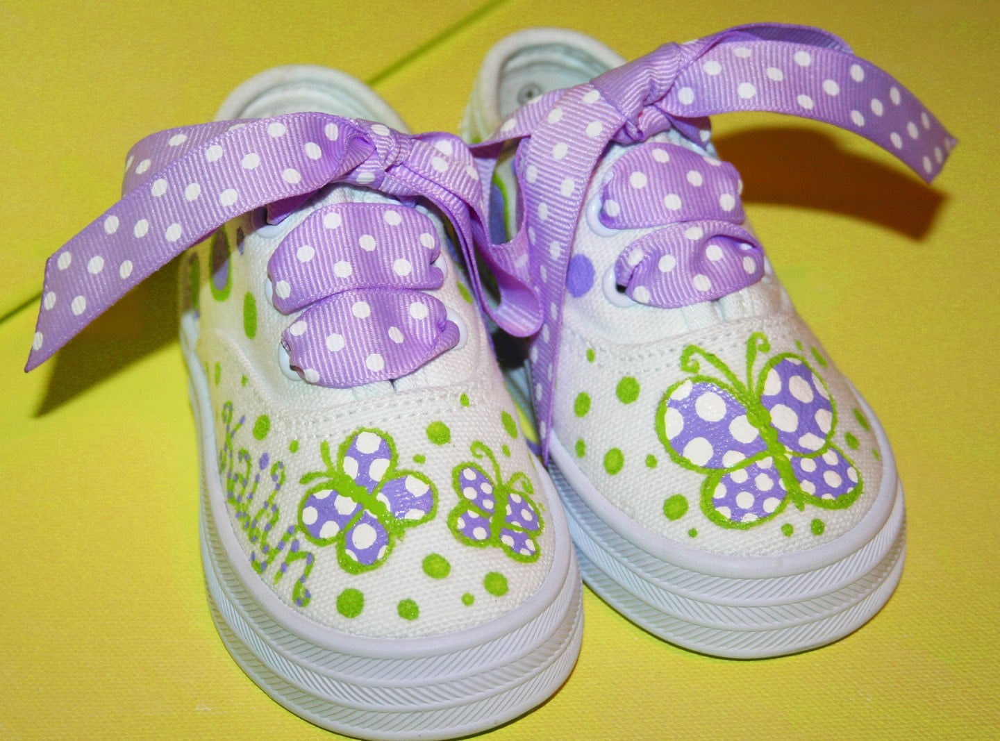 s custom painted tennis shoes lavender and green