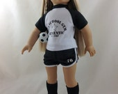 Black and White Soccer Outfit for American Girl Doll w/ Shoes, Socks, Ball 4 Julie free Hanger