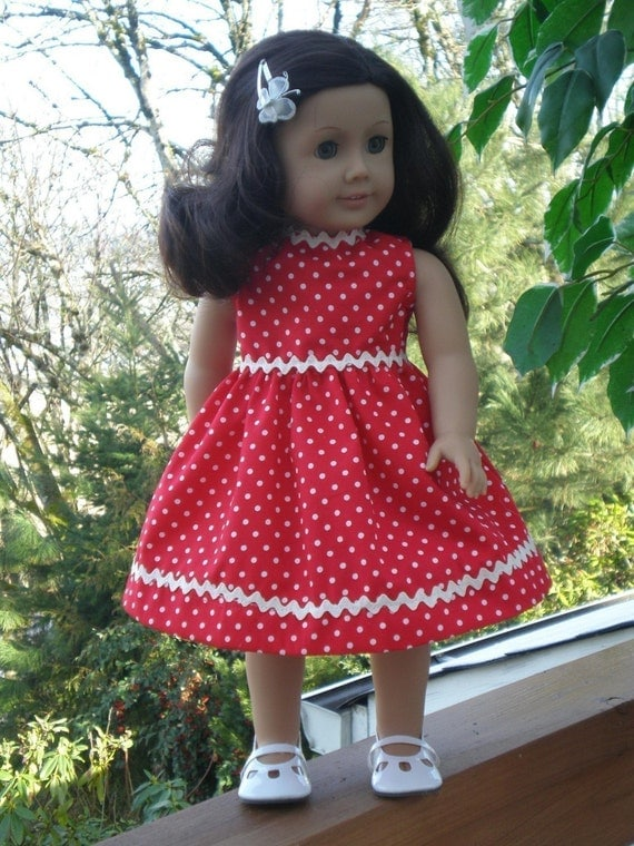AMERICAN GIRL DOLL Dress Red with White polka-dots and Rick-Rack Free Hanger Spring Dress Bumboletta